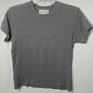 Emanuel ungaro short sleeve gray top women's small